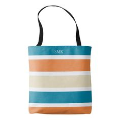 We love the look of this Modern Monogram Tote Bag with its trendy Turquoise Teal and Orange Stripes. So summery, yet also perfect for fall! Monogram Tote Bags, Custom Tote Bags, Personalized Tote Bags, Boho Aesthetic, Teal Orange, Edge Design, Christmas Card Holders, Reusable Tote Bags, Stripes