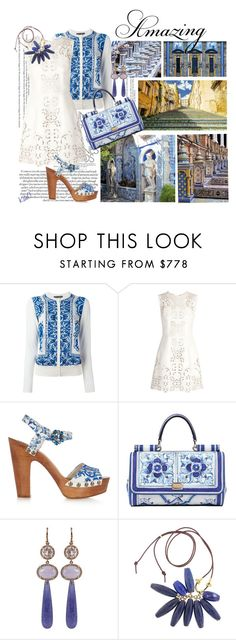 Majolica Blue  by kateo on Polyvore featuring moda, Dolce&Gabbana, Irene Neuwirth, Champion, women's clothing, women's fashion, women, female, woman and misses