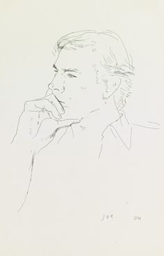 David Hockney JOE Estimate: - USD signed with the artist's initials and titled ink on paper 12 by 8 in. British Artist, Drawing Prints, Portrait Drawing, Sketches, David Hockney, Drawing Illustrations, Art, Portrait, Portrait Art