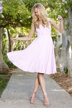 lavender fit and flare dress
