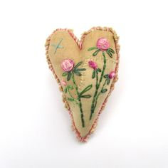 Embroidered Heart Brooch  Sweet Heart Brooch