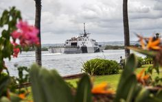 PEARL HARBOR (Dec. 13, 2013) The U.S. Navy's first littoral combat ship, USS Freedom (LCS 1), transits the waters of Joint Base Pearl Harbor-Hickam. Freedom's maiden proof-of-concept deployment, a 9-month assignment forward-operating from Singapore, is also the first ever for a LCS and the ship is scheduled to return to its San Diego homeport later this month. (U.S. Navy photo by Mass Communication Specialist 2nd Class Sean Furey/Released)