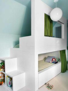 einbaubett für kinderzimmer in weiß pendelleuchte