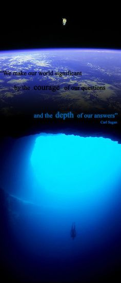 """We make our world significant by the courage of our questions and the depth of our answers."" - Carl Sagan"