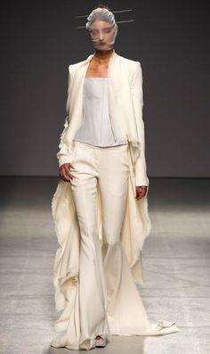 Gareth Pugh - Paris Fashion Week 2012. white pants and coat(: