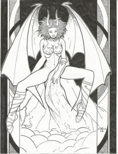ORIGINAL ART: by Vittorio Devilish Girl B&W;+actual art plus print+more