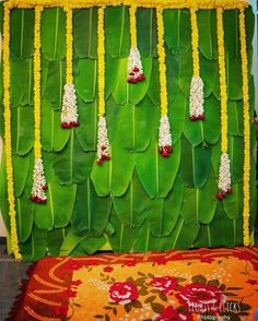 Attractive banana leaves with hanging marigold n jasmine . Naming Ceremony Decoration, Wedding Hall Decorations, Desi Wedding Decor, Marriage Decoration, Backdrop Decorations, Diwali Decorations, Flower Decorations, Backdrops, Decoration For Ganpati
