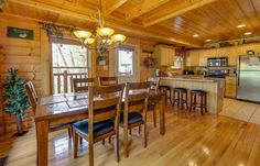 Kitchen & Dining Room, June 2016    Pat Kirchhoefer, owner of the cabins Escape to Times Past    #mybearfootcabins #pigeonforge #cabinlife #gatlinburg #sevierville #vacay #vacation #mountains