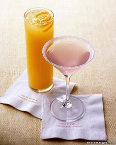 Blushing Bride - It's really just a vodka lemonade in a martini glass, but it sounds delicious.