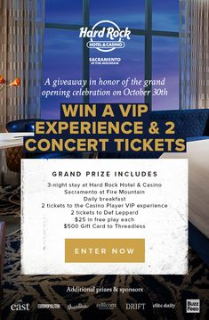 Enter to win a Hard Rock Hotel VIP Experience. Paradise Places, Hard Rock Hotel, Crossed Fingers, Concert Tickets, Def Leppard, Sacramento, Cosmopolitan, Fresco, Good To Know