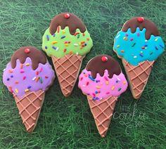 Happy summer! 💜💚💗💙 . . . . #littlecookieshop #icecream #icecreamcookies #cookiedecorating #icecreamconecookies #summertreats Iced Sugar Cookies, Ice Cream Cookies, Cookie Icing, Royal Icing Cookies, Cut Out Cookies, Cute Cookies, Cupcakes, Cupcake Cakes, Ice Cream Decorations