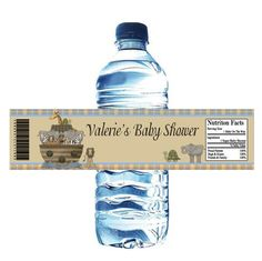 noah's ark baby shower - water bottle label idea