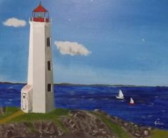 """""""Lighthouse on a Sunny Day"""" 20 x 15 acrylics on canvas panel.  Given as gift to Terri Makalondra."""