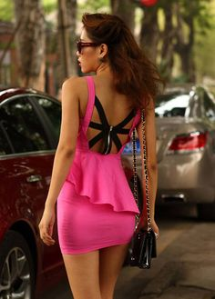 Sexy Cutout Back Spaghetti Strap Flouncing Rose Spandex Mini Dress