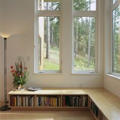 Book case as a window seat! If we ever move into a bigger house I so want to do this! Banquette Design, Banquette Seating, Low Bookshelves, Bookshelf Bench, Book Shelves, Billy Bookcases, Home Interior, Interior Design, Transitional Home Decor
