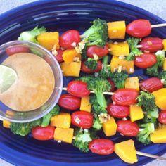 vegetable skewers with spicy peanut sauce