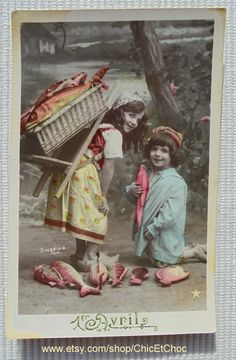 Unused Vintage French Postcard - Cute Children with Fish (Poisson D'Avril / April 1st) by ChicEtChoc on Etsy