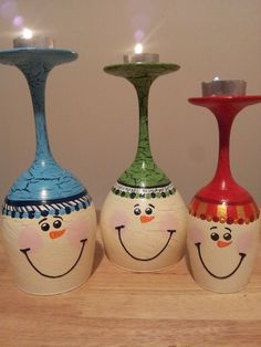 Snowmen upside down wine glasses