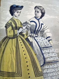 1862 - Original ladies fashion plate showing classically distinctive styles of that era.  Hand tinted.