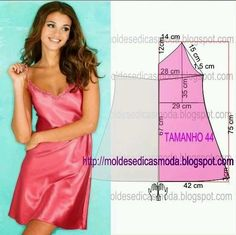 Slip nightgown pattern draft {Site NOT in English} from Moldes Moda por Medida: CAMISA… - Moldes ModaFashion molds for MeasureDiy idea how to make tutorial nightdressnighty or camisole if cut shorterMod@ en Line Lingerie Patterns, Sewing Lingerie, Dress Sewing Patterns, Sewing Patterns Free, Clothing Patterns, Loom Patterns, Free Sewing, Clothing Ideas, Fashion Sewing