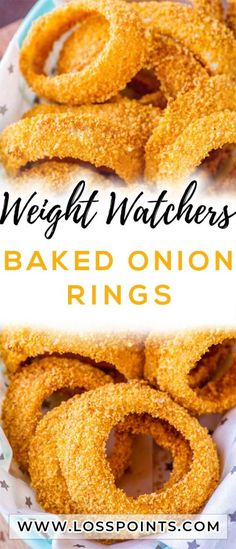 Ditch the deep fryer in favor of this quick and easy recipe for Crispy Baked Onion Rings paired with your choice of dipping sauces. The result is Ww Recipes, Snack Recipes, Cooking Recipes, Healthy Recipes, Healthy Snacks, Recipies, Healthy Eating, Weight Watchers Diet, Weight Watcher Dinners