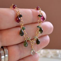 Tourmaline Necklace Pink and Green Gemstone Drops Wire