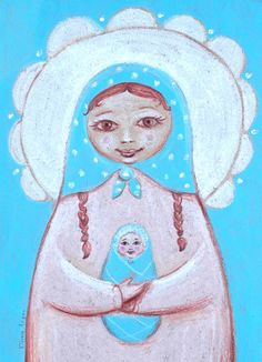 matryoshka illustration  new baby a girl with a by dachastudio, $25.00