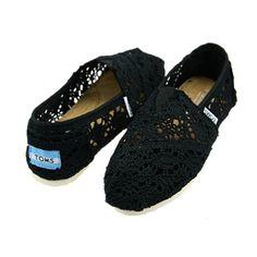 Toms Womens Crochet Shoes Black