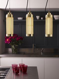 Davey Lighting Pillar LED Ceiling Pendant Light - Polished Brass from Lighting Direct. Pillar Lights, Led Pendant Lights, Ceiling Pendant, Led Ceiling, Pendant Lighting, Btc Lighting, Davey Lighting, Art Deco, Direct Lighting