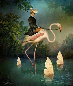 Art And Illustration, Illustrations, Canvas Artwork, Canvas Prints, Flamingo Art, Whimsical Art, Surreal Art, Oeuvre D'art, Les Oeuvres