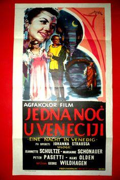 NIGHT IN VENICE 1953 JEANNETTE SCHULTZE  JOHANN STRAUSS OPERA EXYU MOVIE POSTER