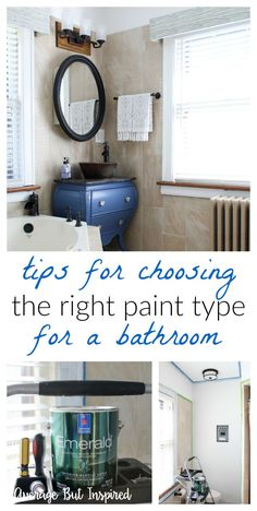Before you paint your bathroom, read this post! Did you know there are special paints made just for bathrooms that resist moisture and mildew? It's true! Read this post to learn how to prevent problems in your painted bathroom down the line with the right paint type.