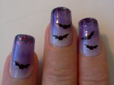 Halloween Bat Nails halloween halloween ideas bats halloween nails halloween nail art halloween nail ideas