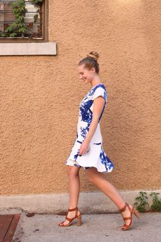 I love how this White Cap Sleeve V Neck Floral Print Dress from SheIn works perfectly for neighborhood walks.