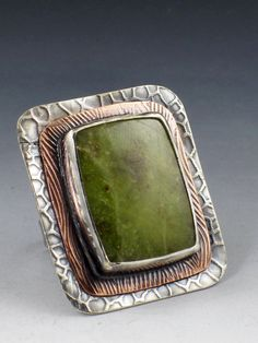 Green Serpentine Mixed Metal Ring sterling by MicheleGradyDesigns