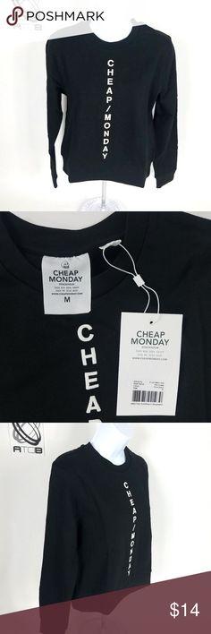 NWT Cheap Monday Sweatshirt Black Size Medium Cheap Monday Women's Sweatshirt Black Size Medium Stockholm Graphic C6 Cheap Monday Tops Sweatshirts & Hoodies