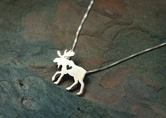 Moose necklace elk sterling silver tiny silver by JustPlainSimple
