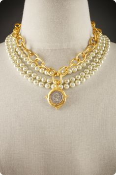 """The Coin and Pearl Necklace - With lavish strands of hand-knotted, luminescent glass pearls, a glistening oversized golden textured chain and an eye-catching sterling silver plated """"antique"""" coin in a handcast 24K gold frame"""