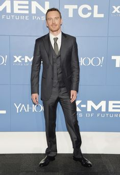 X Men Actors Hit the Black Carpet: Michael Fassbender wears a three-piece suit from Giorgio Armani