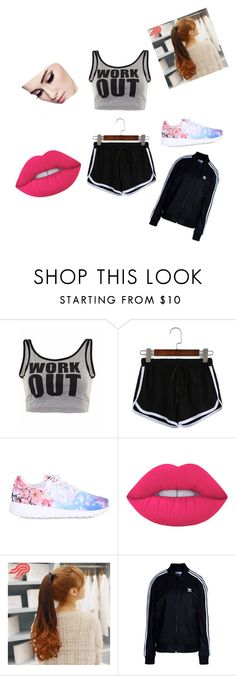 """""""Work Out"""" by gemini-galibear on Polyvore featuring NIKE, Lime Crime, Pin Show and adidas Originals"""