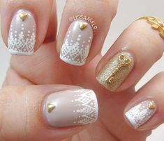 Lace Manicure Packed with Glitter. Get the tutorial
