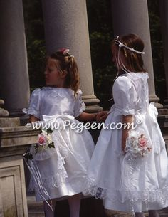 From Pegeen Classics - Girls Flower Girl Dresses with french laces | Pegeen ~ Located 1 mile from Disney World, Selling online and shipping worldwide. Call us for design help! 407-928-2377