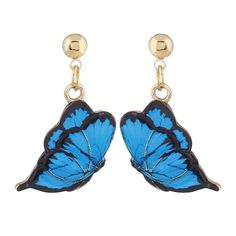 Cute Alloy Butterfly Earrings Blue (49 BAM) ❤ liked on Polyvore featuring jewelry, earrings, butterfly jewelry, earring jewelry, blue jewellery, butterfly earrings and blue color earrings