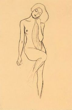 nude sketch by Gustav Klimt via Wandering the Dream Space