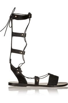 Slight heel Black calf hair Ties at calf Wearing these sandals in wet weather is not recommended