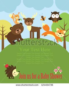 baby shower card design. forest friends. vector illustration - stock vector
