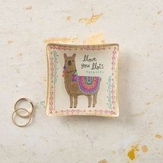 """Llama Llove! Llama Mini Glass Tray - Mini Glass Trays are so cute! This one features an adorable llama, gold foil edges and the sweet sentiment, """"Llove you llots"""". Perfect for displaying around the house or gifting to llama-lloving family and friends!"""