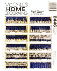 McCall's Home Decor Pattern 2446 - Quick Change Valances - Window Valances in Twelve Variations