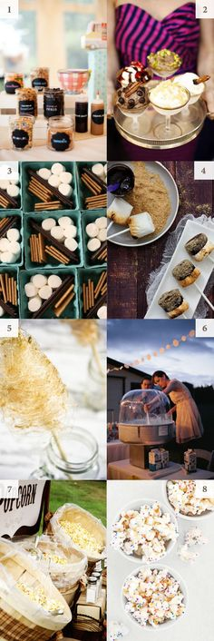 interactive food station ideas.   This would be sooo cute at a country wedding. There are so many possibilities for foods! (I love the cotton candy idea!)