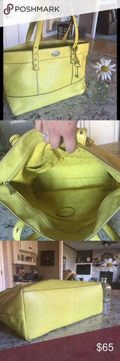 """FOSSIL Tote 👜 💐😎💕Gorgeous FOSSIL Tote, EUC. Presents as like-new condition with no signs of wear. There is a small unnoticeable 1"""" pen mark in the inside accessories pocket as seen in second pic. Pictures display true color which is a true lemon-lime green. Comes with leather keychain as seen in first pic. Such a FUN yet CLASSY bag! 🎉😎 // 16""""L 10.5""""H 4.5""""W // 10""""H bilateral handles // 5.5""""W 8""""H (very deep!) lined outside back pocket for phone or tablet as seen in last pic // Fossil…"""